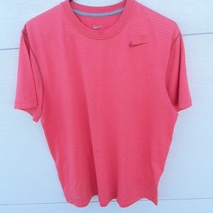Nike dri-fit pink striped top size large